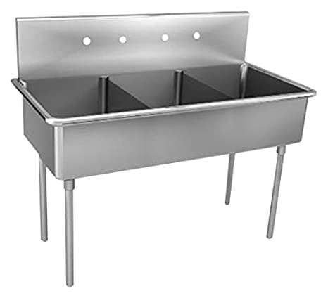 Just NSFB-345-2-2 Triple Compartment 14ga T-304 Stainless Steel NSF Scullery Sink