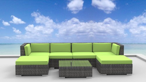 Urban Furnishing - MAUI 7pc Modern Outdoor Backyard Wicker Rattan Patio Furniture Sofa Sectional Couch Set - Lime Green photo