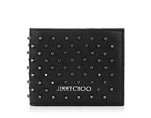 【ジミーチュー】 JIMMY CHOO MARK Black Leather Wallet with Gunmetal Studs 財布 【並行輸入品】 EJIIGO