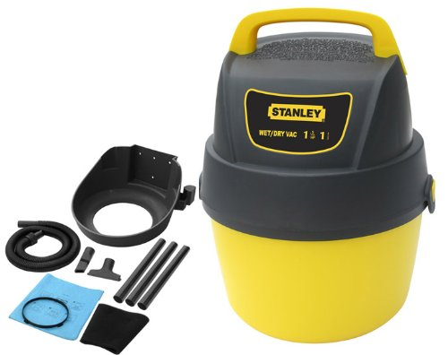 Stanley SL18125P 1-Gallon 1.5 Peak Wall Mounted Storage Design Portable Poly Series Horsepower Wet/Dry Vacuum Cleaner