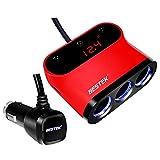 BESTEK シガーソケット usb 充電器 ソケット 3連 USB 2ポート 電圧・電流測定機能搭載 LEDライト付き BTSA12BL(赤)