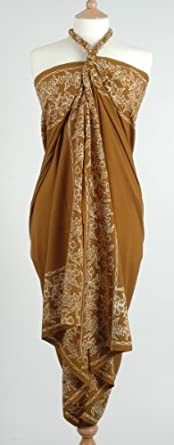 Pure Silk Sarong/Wrap in Gold with White Flower Batik Border