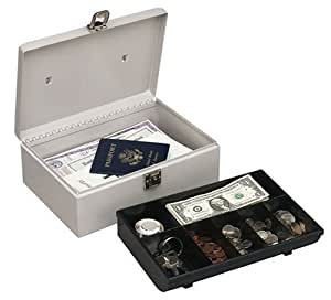 Buddy Products Metal Cash Box with Handle,Steel, 7.75 x 4 x 11 Inches, Platinum (0513-32)