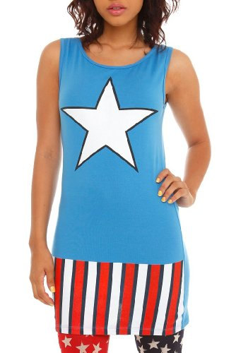 Captain America (Marvel Comics) Womens Tank Top Tunic Full Fitted Costume Tank Dress
