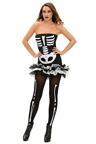 [JE Women's Sexy Fever Skeleton Cosplay Halloween Costume] (Cheap Maternity Halloween Costumes)