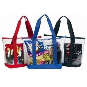Large Clear Tote Bag with Zipper Closure (Blue)