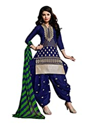 Desi Look Women's Blue Cotton Patiyala Dress Material With Dupatta