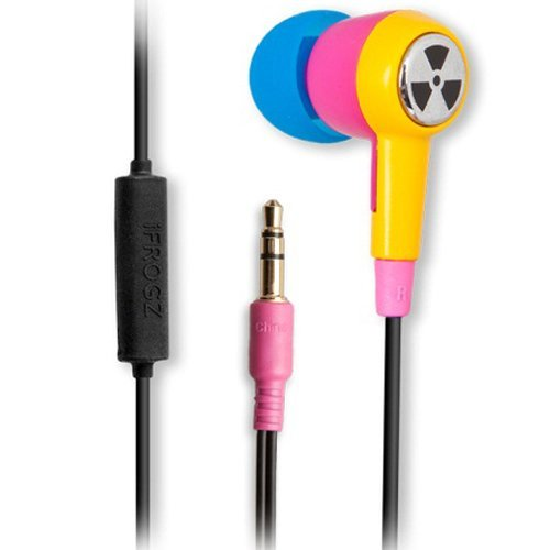 Ifrogz Earpollution Ozone Earbuds With Mic - Retail Packaging - Pink/Yellow
