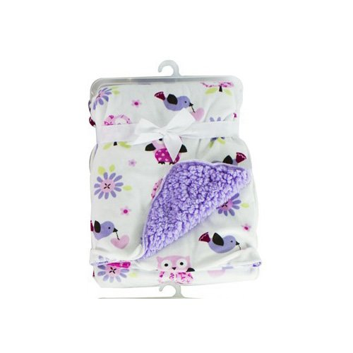 baby-sherpa-mink-printed-pram-buggy-blanket-wrap-thick-purple-owls