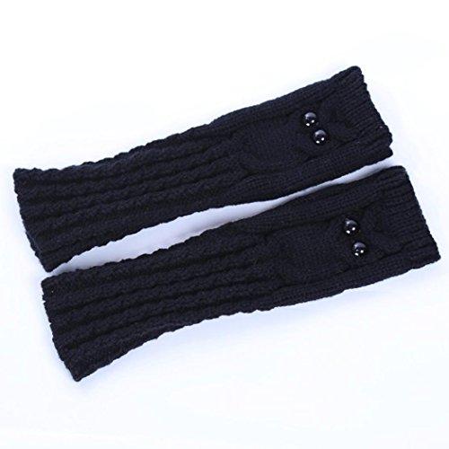 GBSELL Women Girl Owl Winter Knitted Gloves Arm Sleeve Fingerless Warmers Mitten (Black)