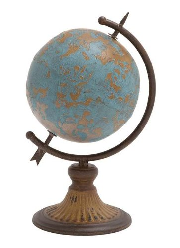 Antique Metal Globe In A Rustic Design
