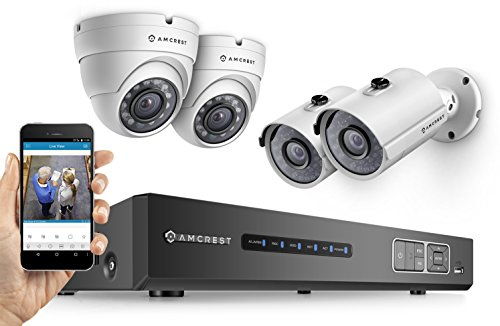 Amcrest-HD-720P-4CH-Video-Security-System-Four-1280TVL-10-Megapixel-Weatherproof-IP66-Dome-and-Bullet-Cameras-65ft-IR-LED-Night-Vision-1TB-HDD-HD-Over-AnalogBNC-Smartphone-View-White