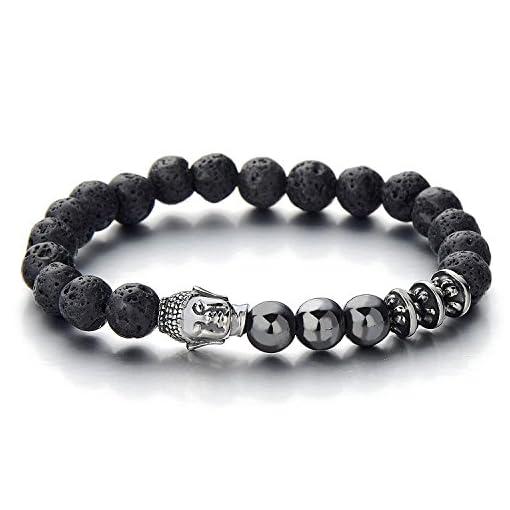 Herren-Armband-aus-Perlen-mit-Buddha-Edelstahl-Tibetan-Beads-Buddhist-Prayer-Mala-Vulkan-Vulkanisch-Stein