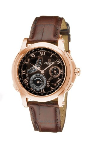Accurist Grand Master's Repeater Men's Quartz Watch with Black Dial Analogue Display and Brown Leather Strap GMT326