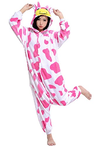 SPJ: Pink Cow Kigurumi Pajamas Cosplay Costume Warm Lounge Wear Onesie (M) (Pink Gorilla Suit)