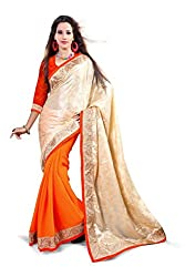 Sangeeta Textiles Cotton,Chiffon Saree(SAN636-A_Orange)