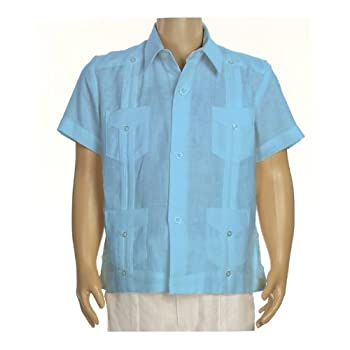 Boys linen guayabera in turquoise blue. Final sale
