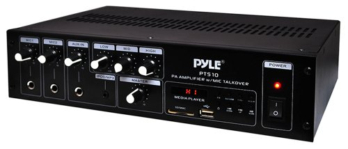 Pyle Home Pt510 240 Watt Amplifier With 70V Output, Mic Talkover, Usb/Sd Readers, Aux Input, Built-In Fm Radio & Led Display