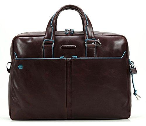 Piquadro Italian Leather Portfolio Briefcase - Dark Brown - Blue Square Collection Ca3147B2