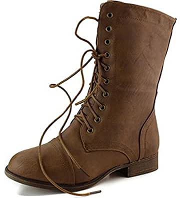 Women's Lace Up Cowboy Ankle Mid Knee Combat Military Boots Tan
