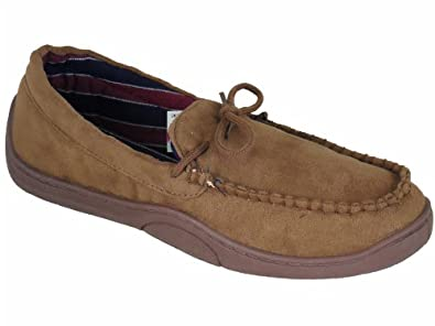 Superb Quality Men's Soft Lined Moccasin Style Slippers Light Brown UK 8