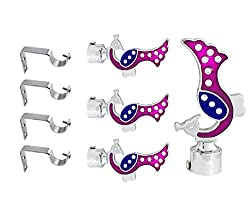 JAKABA Pink, Blue Stainless Steel and Alloy Curtain Finials with Supports - PACK of 8 Pcs.