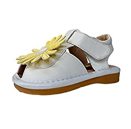 Little Blue Lamb Baby Girl Squeaky Sandals/shoes - White with Flower Design
