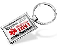 "Neonblond Keychains Medical Alert Red ""Diabetic Insulin Dependant TYPE 1"" - Key chain ring"