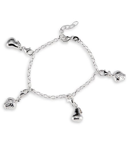 Pear Strawberry Charm Solid 925 Silver Ankle Bracelet