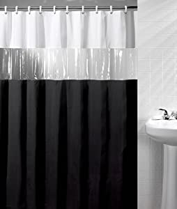 Window Fabric Vinyl Black White Shower Curtain Bath New