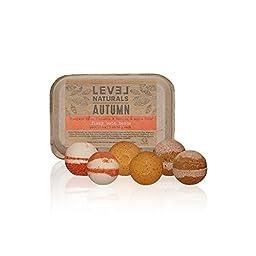 Level Naturals Bath Bombs: Autumn Bath Bomb Variety 6 Pack (2 x Pumpkin Spice, 2 x Cinnamon Vanilla, 2 x Apple Cider)