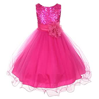 Amazon.com: Kids Dream Fuchsia Sequin Double Mesh Flower ...