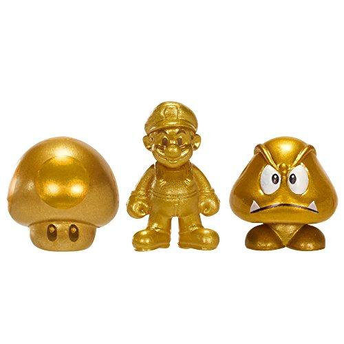 NINTENDO Mario Bros U Micro Figure (3-Pack : Gold Mario/Gold Mushroom/Gold Goomba) - 1