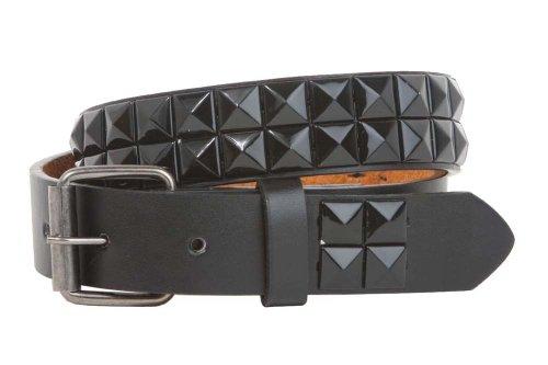 """Kids 1"""" Snap On Punk Rock Black Star Studded Leather Belt Size: M - 24"""""""