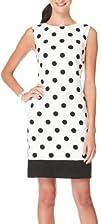 AGB Sleeveless Black Polka Dot Sheath Dress