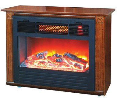 LIFESMART Amish Inspired Quakerstown Dark Oak E-Z Set Infrared Fireplace