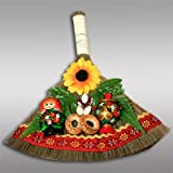 GOOD LUCK CHARM/BROOM [Made in Ukraine. Size: 11 x 10 in (27.5 x 25 cm). A household decoration that brings happiness and prosperity] [This colorful ornament will not only brighten up your home, but it will bring good luck as well! The bright broom is decorated with all the things meant to attract good fortune and prosperity: birch branches are said to attract money, and sunflowers bring warmth and beauty to a home; beans are a symbol of wealth, satiety, and physical strength. Baked goods mean wealth, walnuts indicate a strong family, and towels bring prosperity. Russian tradition and style define this charm, making it a great addition to your home! The little broom should be hung down another broom, or else money will disappear!]