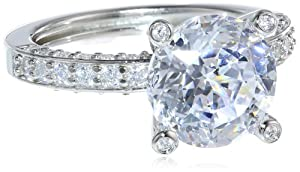 "Platinum Plated Sterling Silver ""100 Facets Collection"" Solitaire Cubic Zirconia Ring with Channel-Set Cubic Zirconia Accent, Size 7"