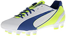 PUMA Women\'s Evo Speed 4.3 Firm Ground Soccer Shoe,White/Snorkel Blue/Fluorescent Yellow,6.5 B US