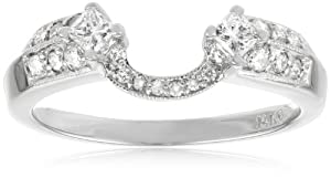 14k White Gold Round and Princess Diamond Solitaire Engagement Ring Enhancer (3/8 cttw, H-I Color, I1-I2 Clarity), Size 6
