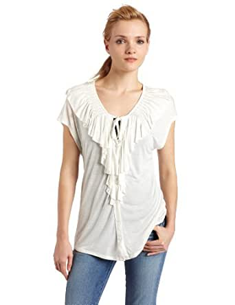 Joie Women's Jenna B Jersey Ruffle Front Top, Porcelain, Small