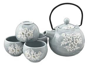 Japanese Style Miyabi Tea Set Flower Design - White - 1 Pot with Filter & 4 Cups by Miyabi
