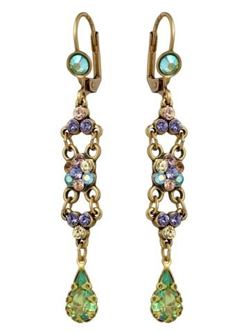 Michal Negrin Dangle Earrings with Flower Centerpiece, Tear Drop Crystals, Green and Purple Swarovski Crystals - Victorian Style, Hypoallergenic