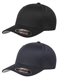 Flexfit Unisex Wooly Combed Twill Cap (6277) 2-Pack (L/XL, Black & Dark Navy)