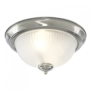 Bathroom Flush Ceiling Light Satin Silver with Opaque Ribbed Glass, 4042 from Searchlight
