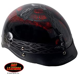 Hot Leathers Celtic Cross Motorcycle Helmet (Black, X-Large)