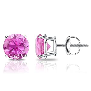 18k White Gold Round Pink Sapphire Gemstone Stud Earrings in 4-Prong Basket Screw Backs (2 cttw)