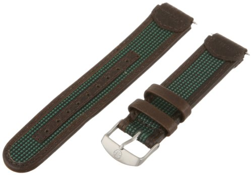 Timex Men's Q7B810 Expedition Sport Genuine Leather 18mm Brown and Green Replacement Watchband