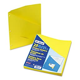 Pendaflex : Essentials Slash Pocket Project Folders, Jacket, Letter, Yellow, 25 per Pack -:- Sold as 1 PK