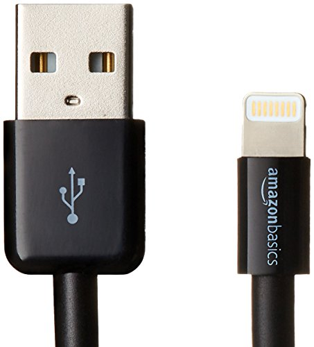 AmazonBasics Apple Certified Lightning to USB Cable - 0.9 m (3 ft) - Black